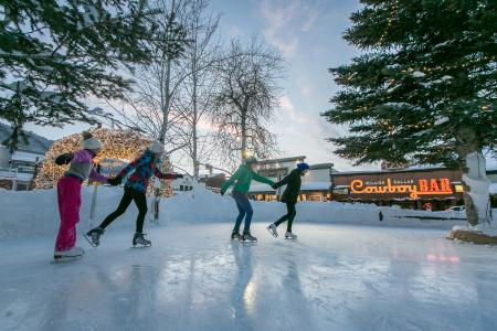 Ice skating in Jackson Hole Town Square