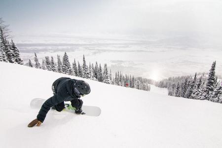 snowboarding in jackson hole